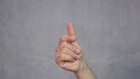 Man hand click, snapping fingers. Gesture, sign, symbol. Communication with no talking concept.