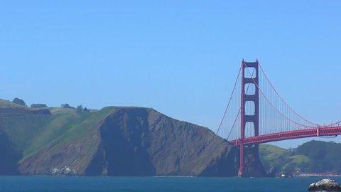 The Golden Gate Bridge as seen from Baker Beach, San Francisco, California, USA, 4K footage, 2017