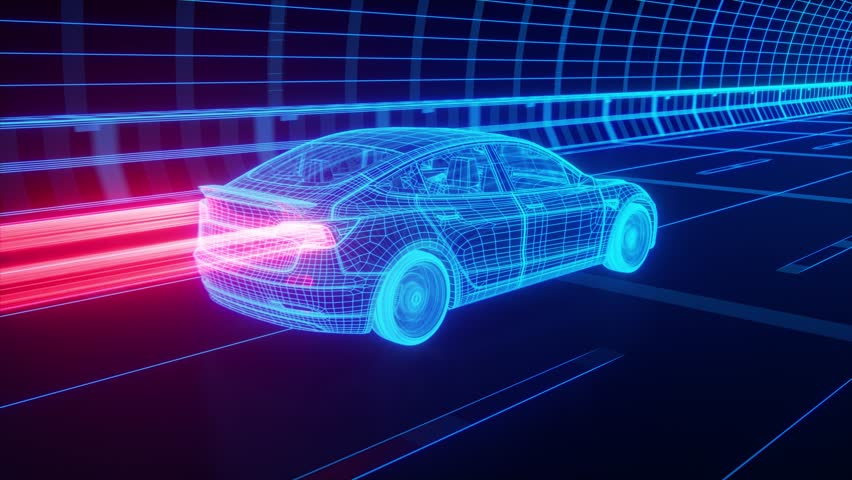 Blue wireframe Modern Electric car rides through Blue tunnel 3d rendering #1016293027