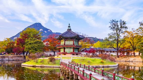 Autumn of Gyeongbokgung Palace in Seoul City,South Korea.Timelapse 4k