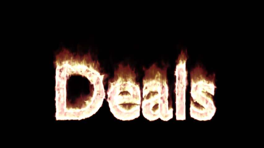 Animated burning or engulf in flames text deals for promotional or marketing or commercial use. Fire has transparency and isolated and easy to loop. Alpha channel embedded with PNG file.