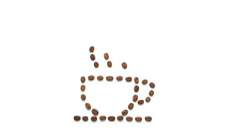 cup of coffee appears from coffee beans on a white background. Smoke is coming from the cup.