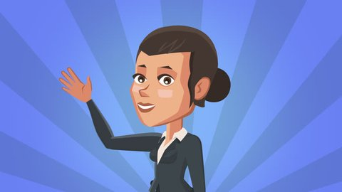 Cartoon Situation Emma Character. Cute Business Woman Hand Waving Hi Hello Greeting Bye. Animation with Alpha Channel