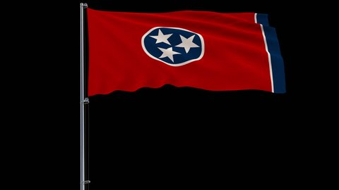 IIsolate flag of United States Tennessee on flagpole fluttering in wind, 3d rendering, 4k prores 4444 footage with alpha transparency
