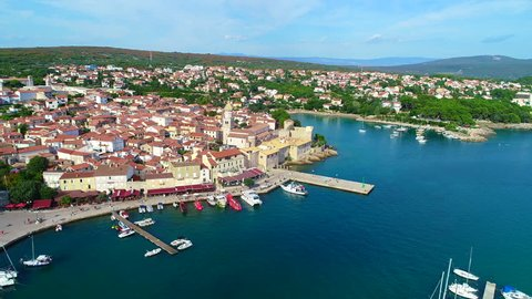 Aerial Video from Island Krk in Croatia direct over the old town