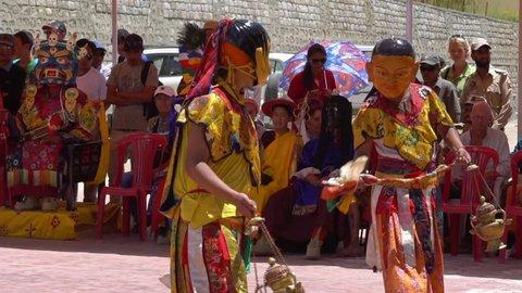 Ladakh, India - Jul 24, 2018 : Mask Dance Festivel at Sakti Temple, Ladakh, India