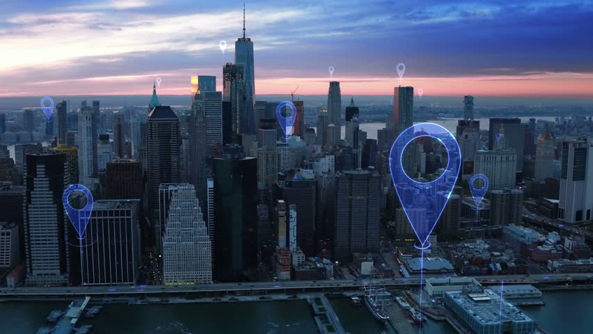 Aerial smart city. Localization icons in a connected futuristic city.  Technology concept, data communication, artificial intelligence, internet of things. New York City skyline. | Shutterstock HD Video #1016477827