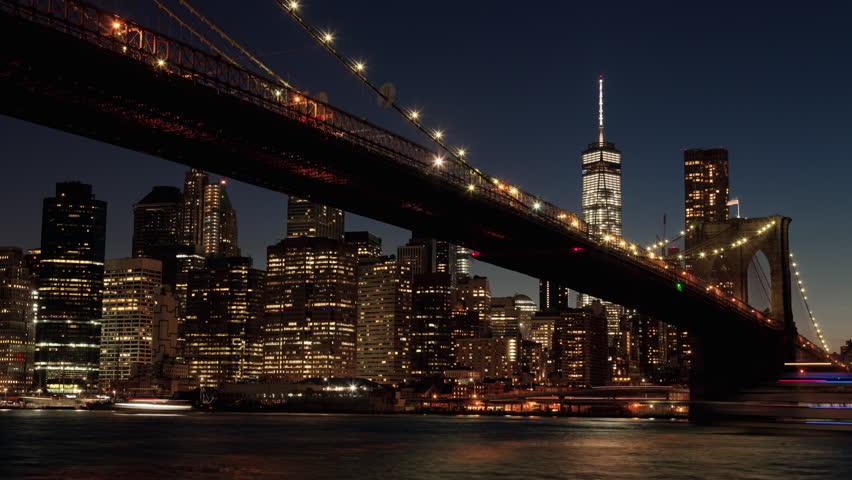 New York City Circa 2015, Timelapse Day to Night of Manhattan from Brooklyn Bridge Park