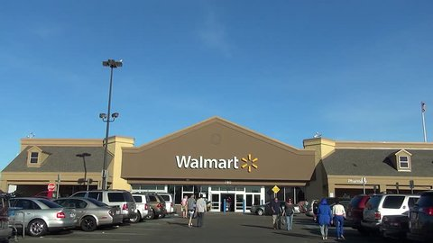 Walmart storefront customers shopping drive up, Lynn Massachusetts USA, September 5, 2015