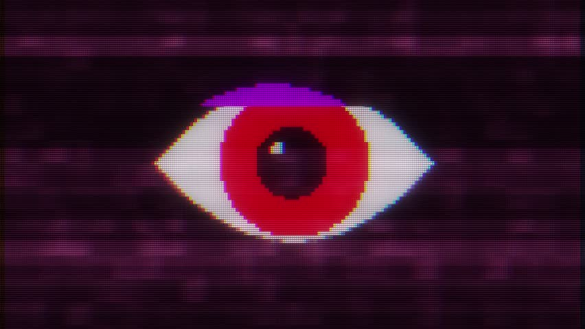 Pixel eye symbol on glitch lcd led screen display background animation seamless loop New quality universal close up vintage dynamic animated colorful joyful cool video footage | Shutterstock HD Video #1016503417