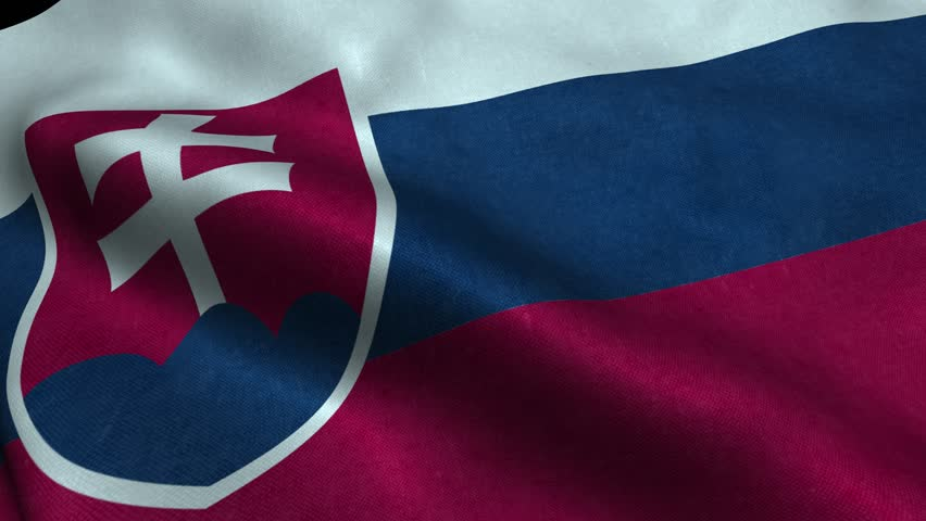 Photorealistic 4k Close up of slovakia flag slow waving with visible wrinkles and realistic fabric. A fully digital rendering, 3D Animation. 15 seconds 4K, Ultra HD resolution slovakia flag animation.