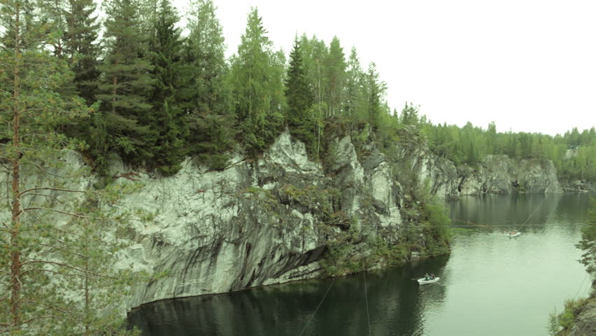 Ruskeala, Sortavala, Russia, September: Famous marble canyon in Karelia - old marble quarries production site - Ruskeala park - natural landmark, tourist destination.