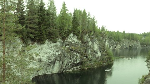 Ruskeala, Sortavala, Russia, September: Famous marble canyon in Karelia - old marble quarries production site - Ruskeala park - natural landmark, tourist destination.