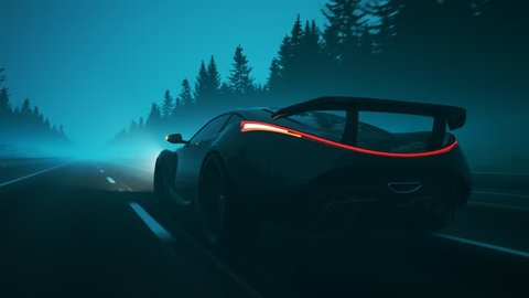 Concept sports car racing through a foggy road at high speed. Endless, seamless pine trees environment. Slick, luxurious super car with very bright headlights lighting the road ahead. Back view.
