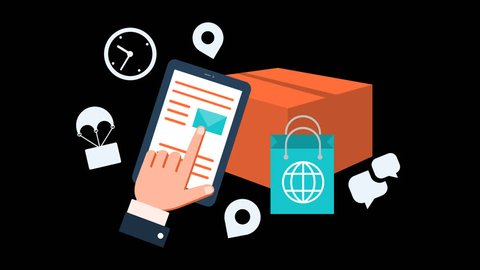 Online Shopping Delivery Courier Parcel Animation Transparent Vector Motion Graphics Loop