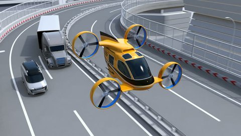 Yellow Passenger Drone Taxi flying through highway. Fleet of delivery drones flying along with truck driving on the highway. 3D rendering animation.