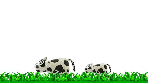 Cow running and jumping on grass concept happy cow or farm