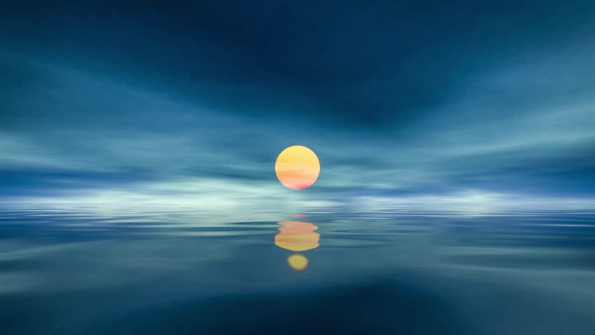 Sun over calm water during sunset loopable animation | Shutterstock HD Video #1016545987