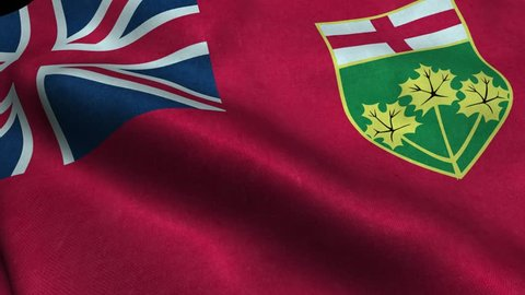 Photorealistic 4k Close up of ontario flag slow waving with visible wrinkles and realistic fabric. A fully digital rendering, 3D Animation. 15 seconds 4K, Ultra HD resolution ontario flag animation.