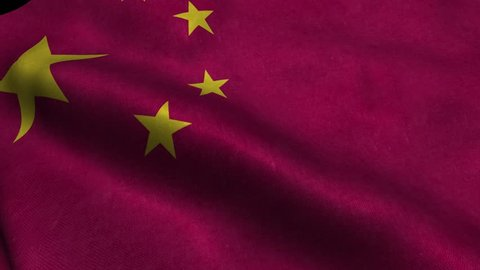 Photorealistic 4k Close up of china flag slow waving with visible wrinkles and realistic fabric. A fully digital rendering, 3D Animation. 15 seconds 4K, Ultra HD resolution china flag animation.