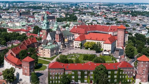 Aerial View of Krakow, Wawel, Royal Castle, Cracow, Poland, Polska