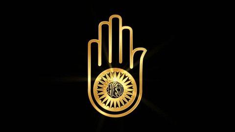 Jainism Ahimsha Religious symbol Particles Animation, Magical Particle Dust Animation of Religious Jain Hand Sign with Rays.  Creating Ahimsha Hand Religious Icon from Particle Dust Animation.