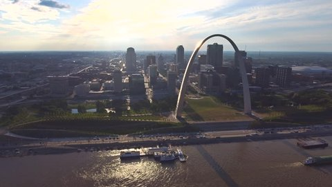 St. Louis Arch and skyline aerial 6