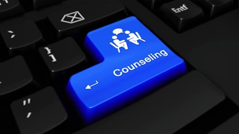 Counseling Round Motion On Blue Enter Button On Modern Computer Keyboard with Text and icon Labeled. Selected Focus Key is Pressing Animation. Counseling Services Concept