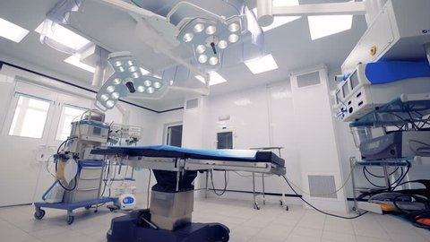 Medical equipment in an empty surgical room