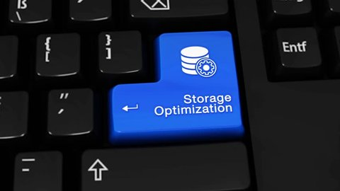 429. Storage Optimization Rotation Motion On Blue Enter Button On Modern Computer Keyboard with Text and icon Labeled. Selected Focus Key is Pressing Animation. Database Security Concept