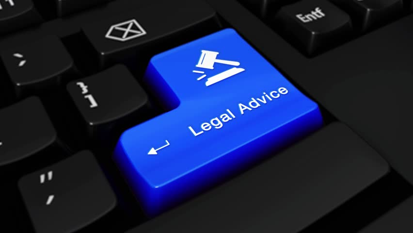 385. Legal Advice Round Motion On Blue Enter Button On Modern Computer Keyboard with Text and icon Labeled. Selected Focus Key is Pressing Animation. xxxxx Concept