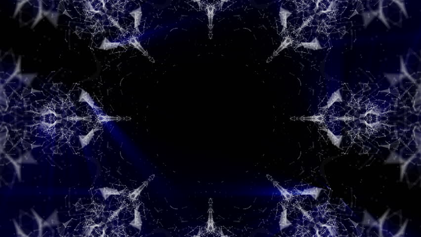 an abstract pattern of light moving particles emitted by a blue glow. 3D rendering #1016711407