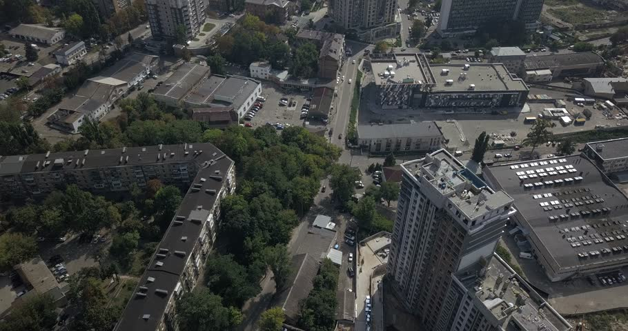 Aerial overhead view downtown Kiev skyscrapers. Traveling on city | Shutterstock HD Video #1016721457