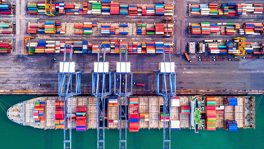 4K Timelapse of modern industrial port with containers from top view or aerial view. It is an import and export cargo port where is a part of shipping dock. Singapore | Shutterstock HD Video #1016733577