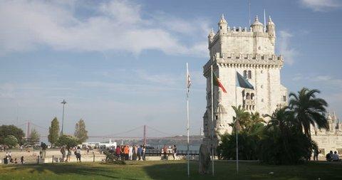 Lisbon Portugal Belem Tower Flag