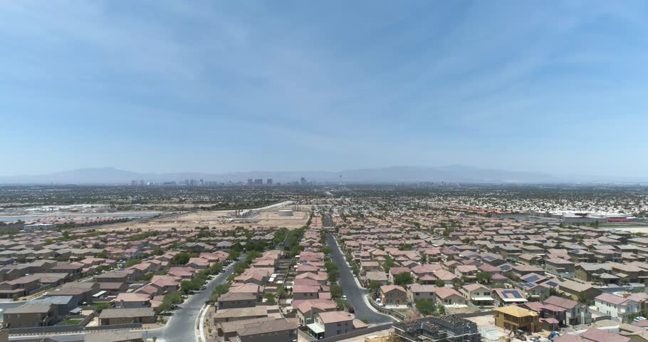 Flying Over Las Vegas Homes Towards City South End