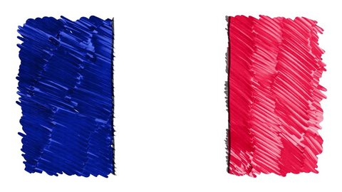 stop motion marker drawn France flag cartoon animation background new quality national patriotic colorful symbol video footage