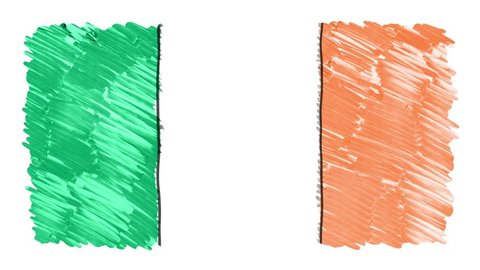 stop motion marker drawn Ireland flag cartoon animation background new quality national patriotic colorful symbol video footage