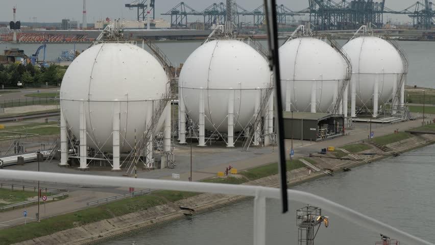 Gas holders in the port | Shutterstock HD Video #1016822017