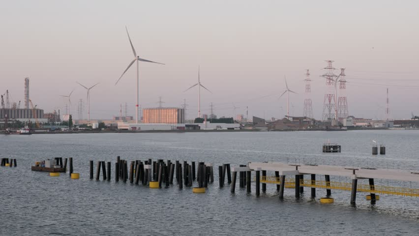 Partially built jetty in the port in the evening | Shutterstock HD Video #1016822377