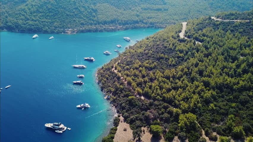 Bodrum Cennet Koyu Agean Beautiful Mediterranean Sea Mandarin Oriental Hotel | Shutterstock HD Video #1016844577