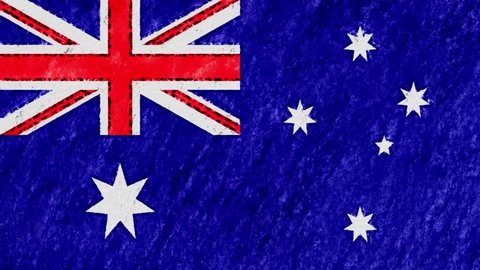 stop motion pastel chalk crayon drawn AUSTRALIA flag cartoon animation seamless loop background new quality national patriotic colorful symbol video footage