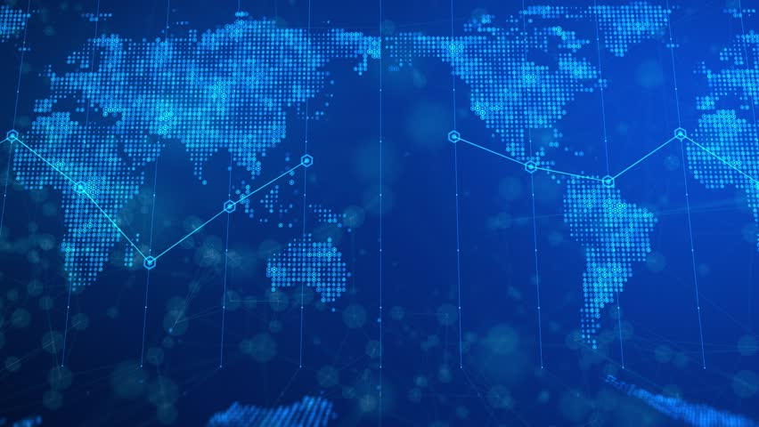 This motion graphics video features a news broadcast world map background . Flat renditions of the world map are on the base and distant background of the clip.  | Shutterstock HD Video #1016869717