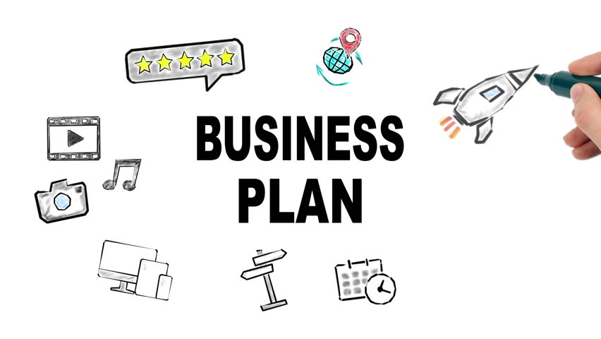 business plan internet and social media  concept, illustration in motion, hand drawing related icons