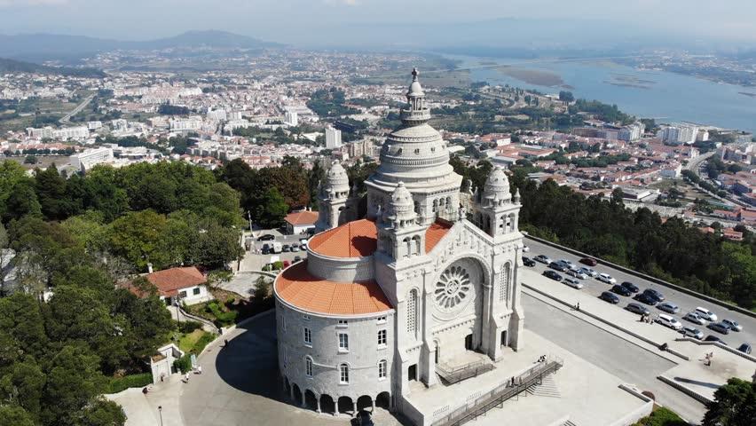 Aerial view of Viana do Castelo, city in Norte region of Portugal, aerial view of Viana do Castelo, Portugal, with Basilica Santa Luzia Church, shot from drone