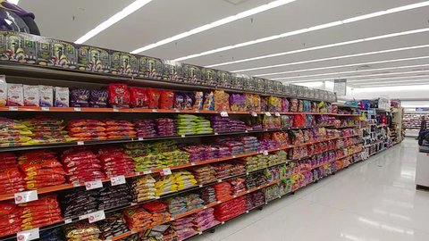 Bettendorf, Iowa - August 19, 2018, Halloween Candy In Grocery Store - Pan Of Shelves