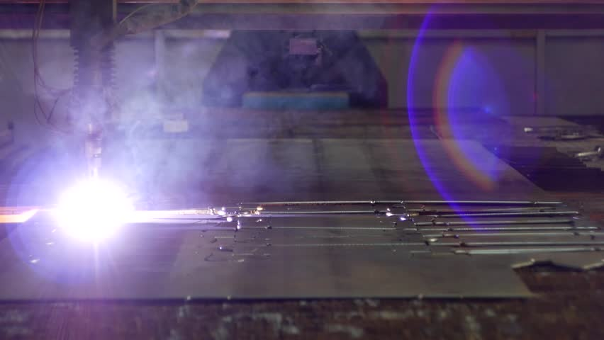 Plasma cutting of metal on an automatic laser machine, laser plasma cutting machine for cutting parts from metal, production, plasma   Shutterstock HD Video #1016928067