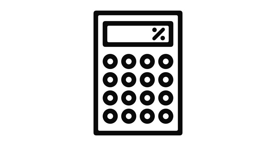 Calculator line icon motion graphic animation with alpha channel.