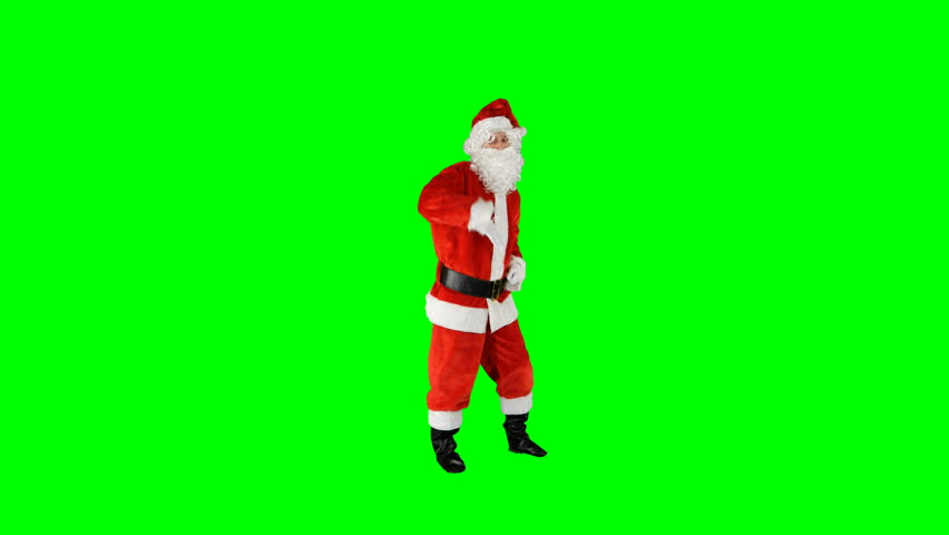 Santa Claus Dancing on Isolated Green Blue Screen Chroma Key Alpha Channel #1016945917