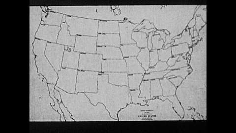 1930s: Illustrated map of the United States. States are shaded in and lines drawn between states. Full map of the USA is shaded in white.